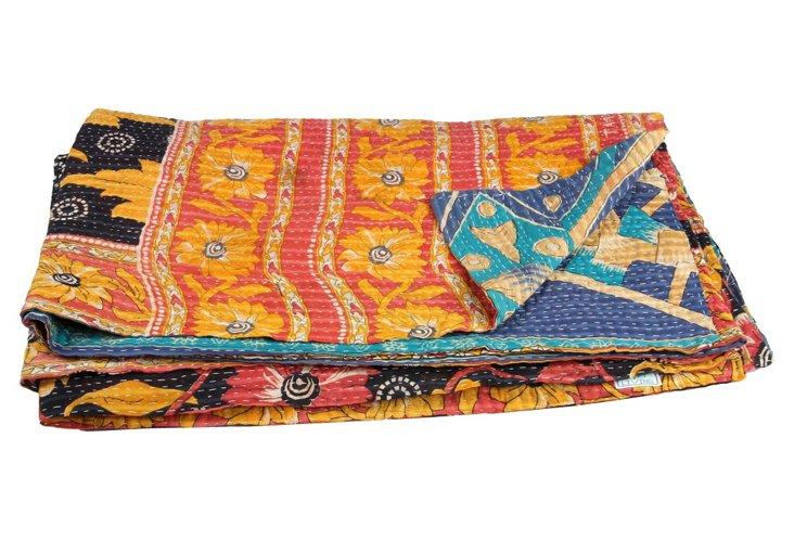 Hand-Stitched Kantha Throw, Sea