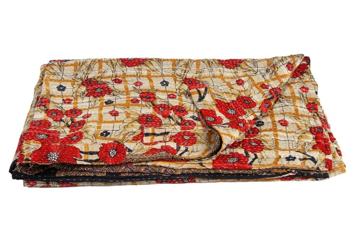 Hand-Stitched Kantha Throw, Fruit