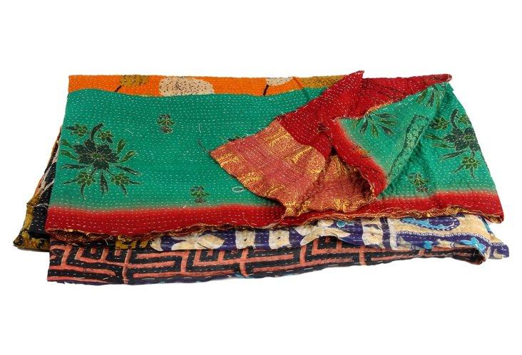 Hand-Stitched Kantha Throw, Maggie