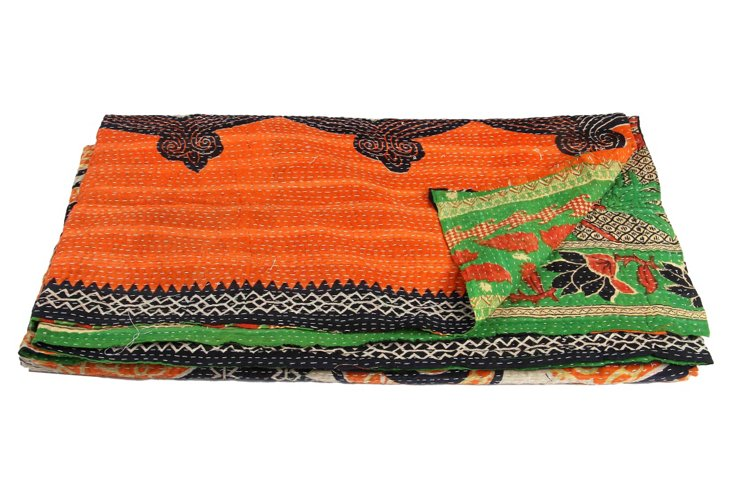Hand-Stitched Kantha Throw, Mickey