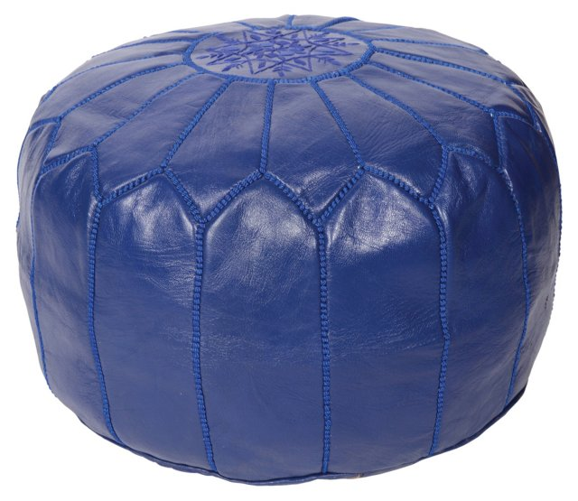 Moroccan Leather Pouf, Indigo