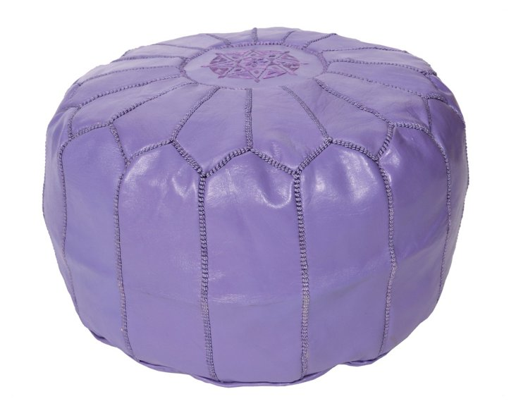 Moroccan Leather Pouf, Lilac