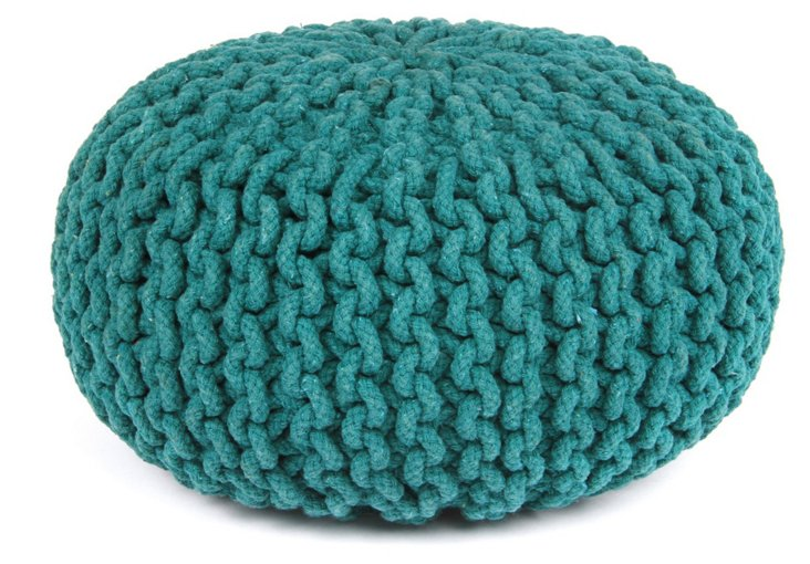Jacie Knit-Cable Pouf, Teal