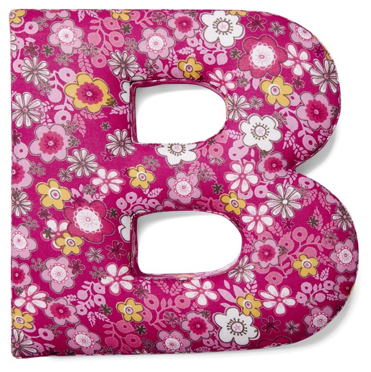 "7"" Fabric Letter, Fuchsia Floral"