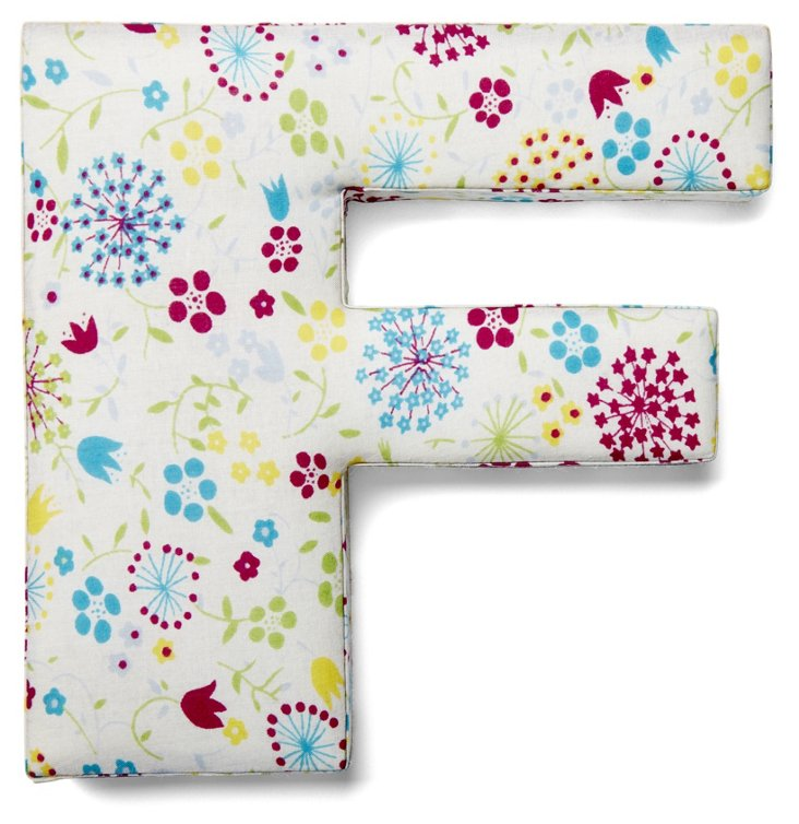 """7"""" Fabric Letter, Whimsy Floral,  F"""