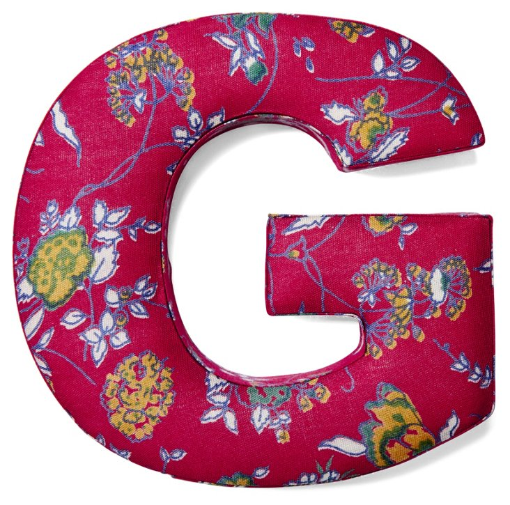 "7"" Fabric Letter, Red Floral"