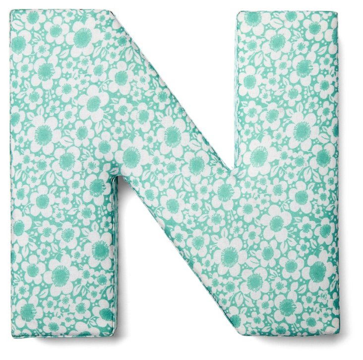 """7"""" Fabric Letter, Turquoise Floral"""