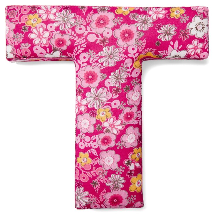 "7"" Fabric Letter, Fuchsia Floral T"