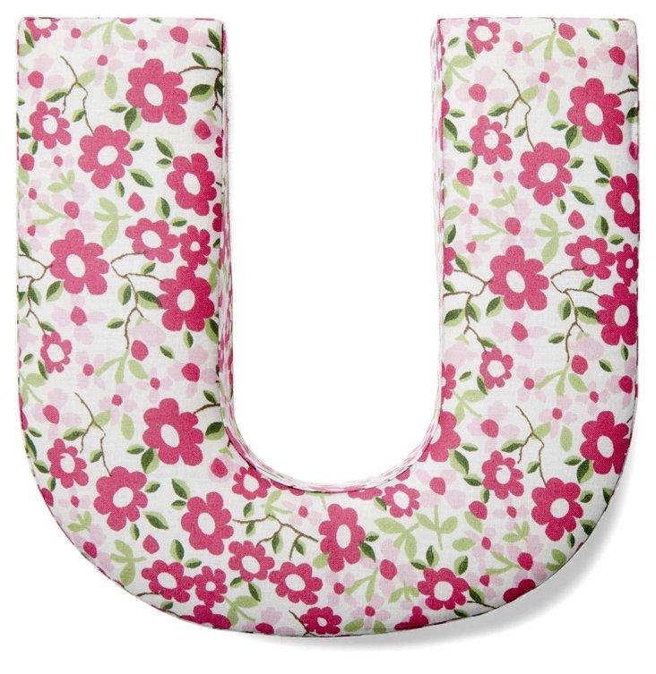 "7"" Fabric Letter, Spring Bouquet U"