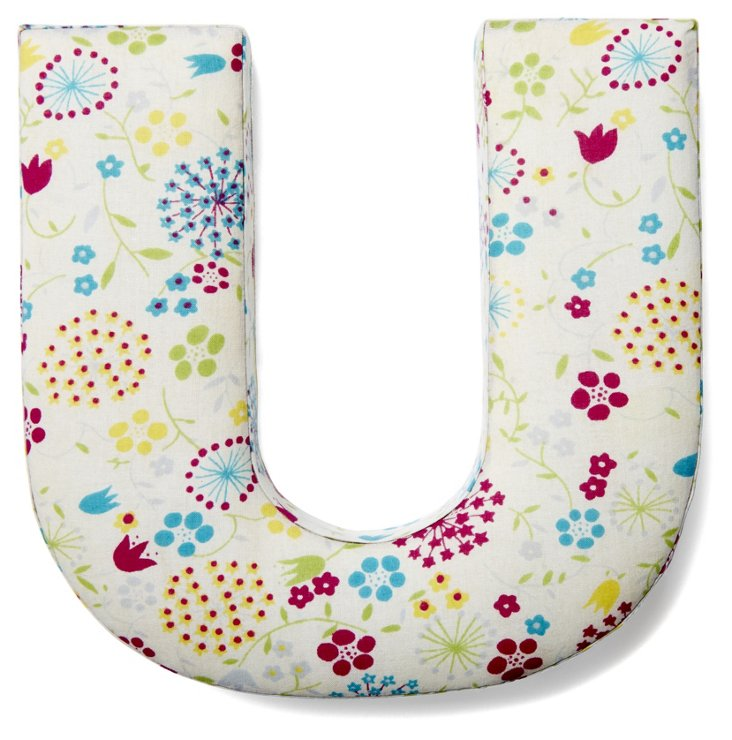 """7"""" Fabric Letter, Whimsy Floral,  U"""