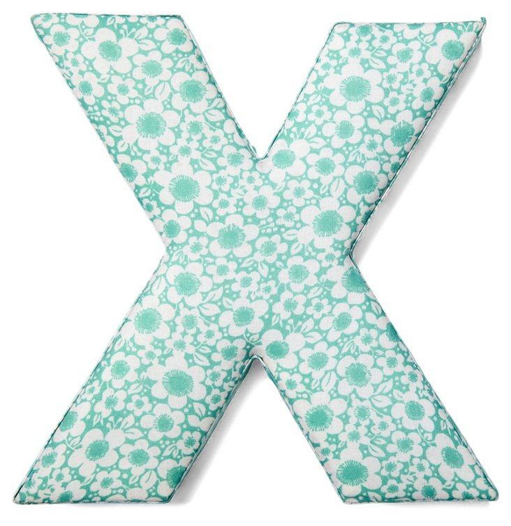 """7"""" Fabric Letter, Turquoise Floral X"""