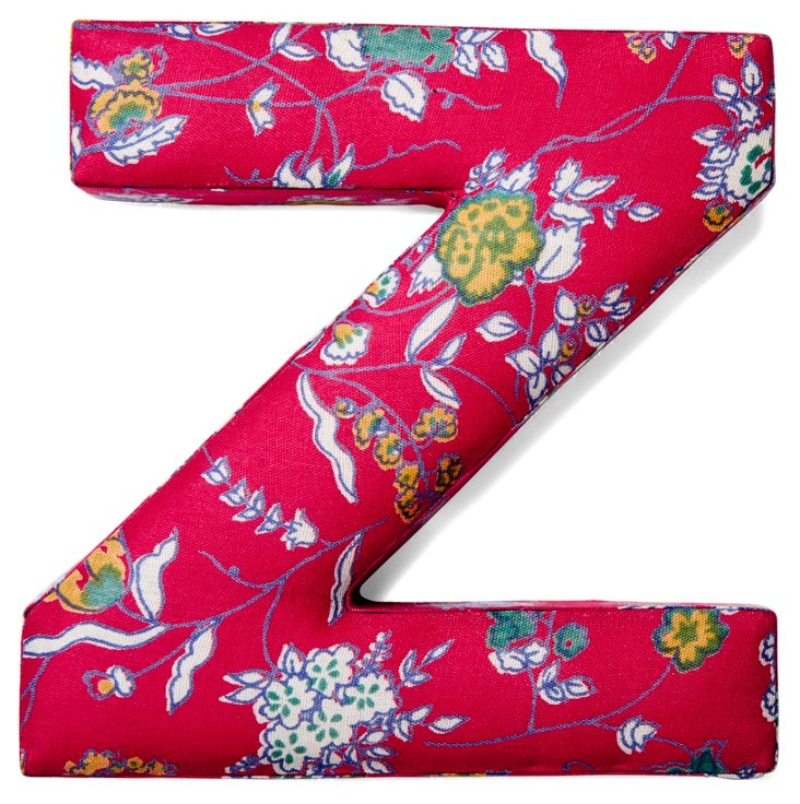 """7"""" Fabric Letter, Red Floral Z"""