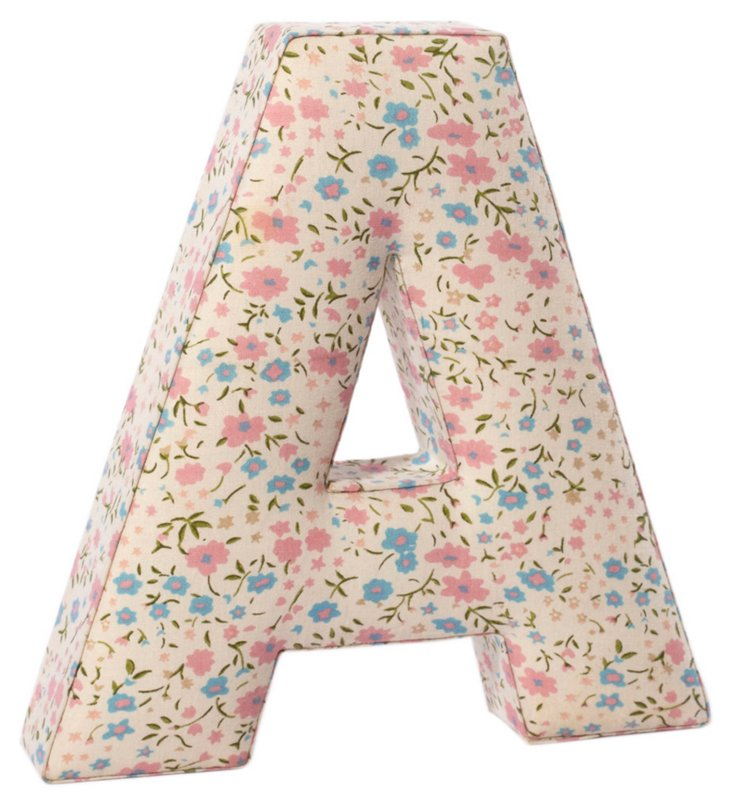 "Fabric Letter ""A"", Prairie Floral"