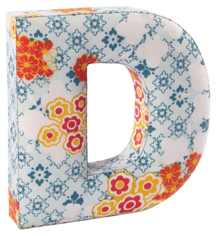 """Fabric Letter """"D"""", Flower Power"""