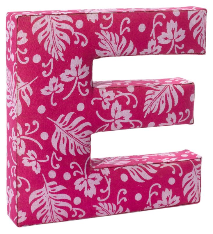 "Fabric Letter ""E"", Punch Bowl Pink"