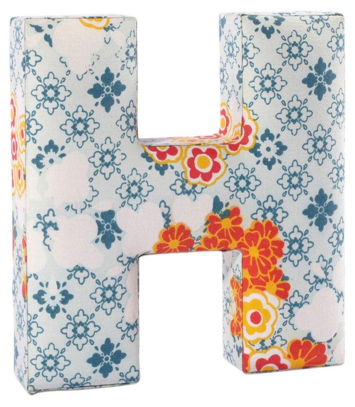 """Fabric Letter """"H"""", Flower Power"""