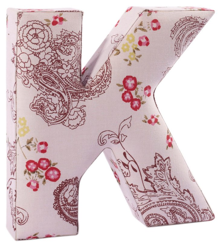 "Fabric Letter ""K"", Pretty Paisley"