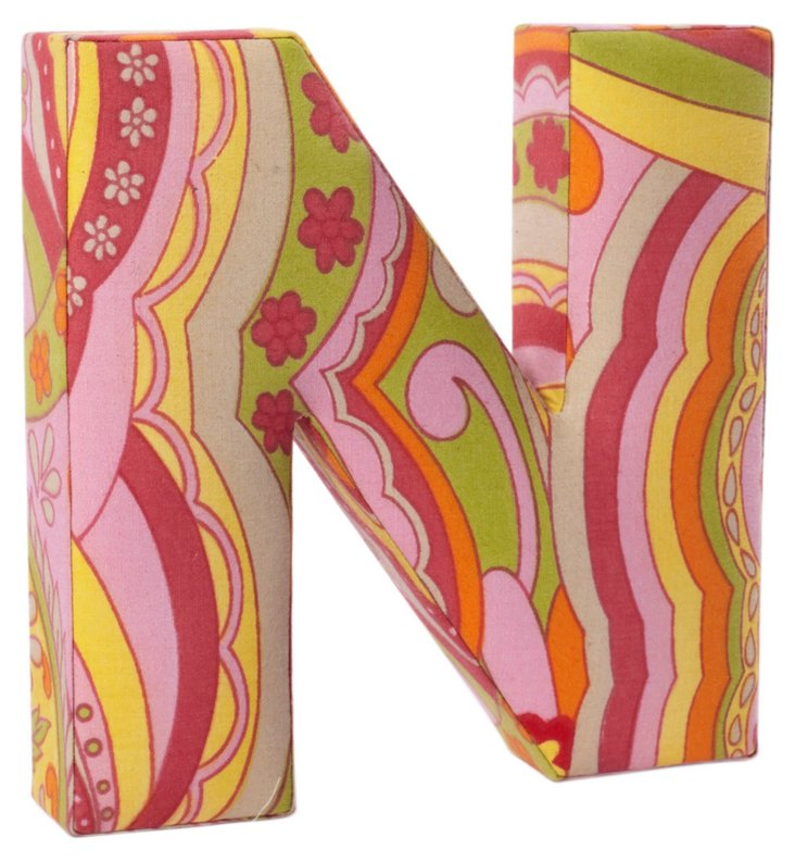 "Fabric Letter ""N"", Hippie Chic"
