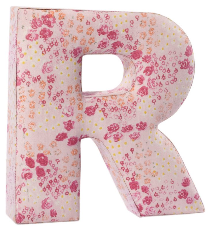 """Fabric Letter """"R"""", Precious Pink"""