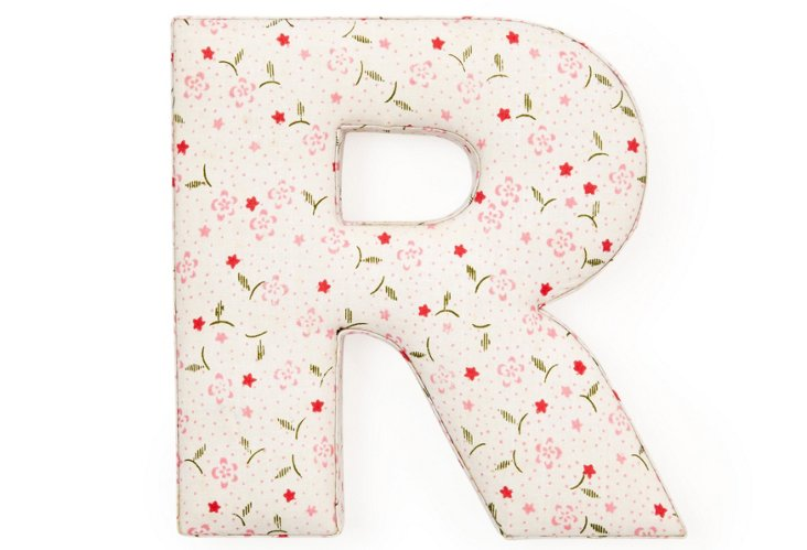 "Fabric Letter ""R"", Blush Spring"