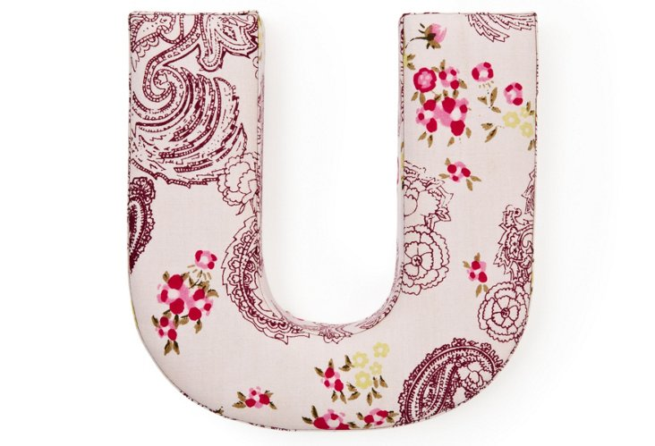 """Fabric Letter """"U"""", Pretty Paisely"""