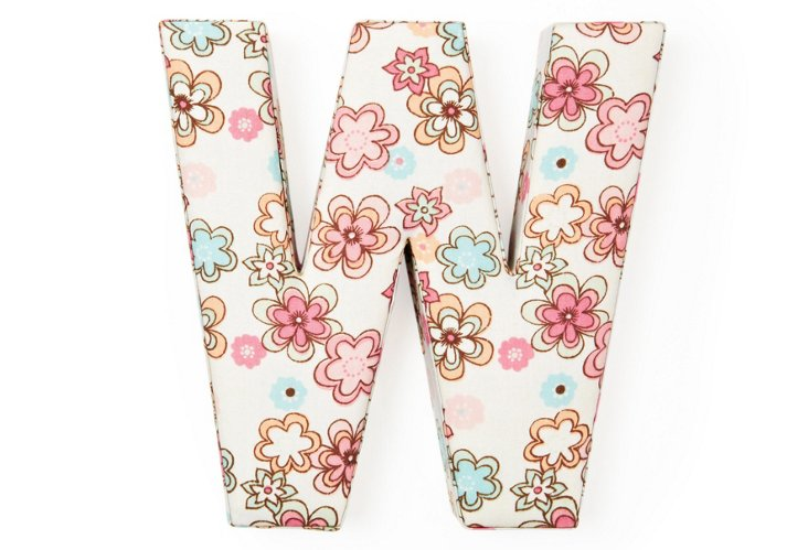 """Fabric Letter """"W"""", Floral Frenzy"""