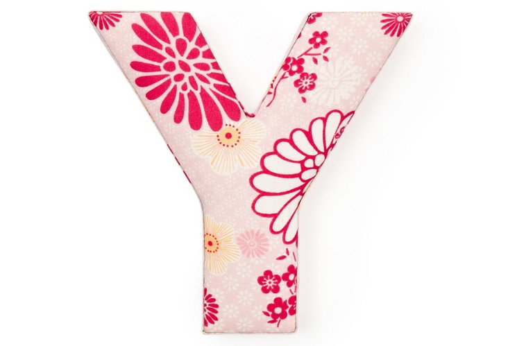 "Fabric Letter ""Y"", Power Pink"