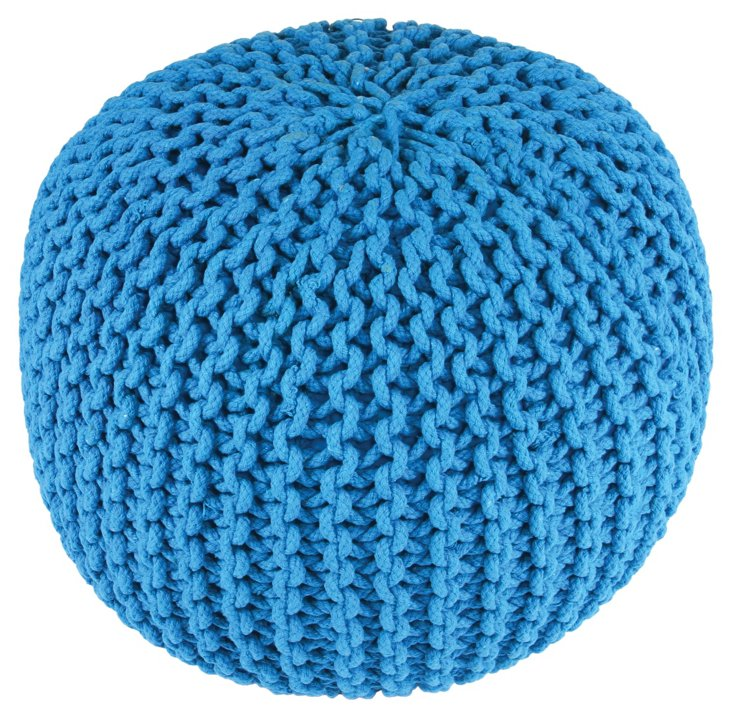 Issey Knitted Pouf, Turquoise