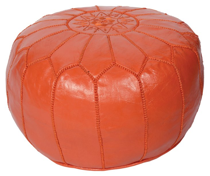 Moroccan Leather Pouf, Orange