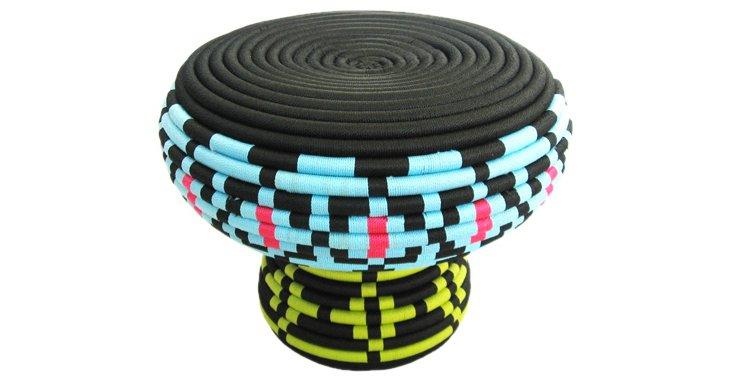 Tribal Stool, Black/Blue