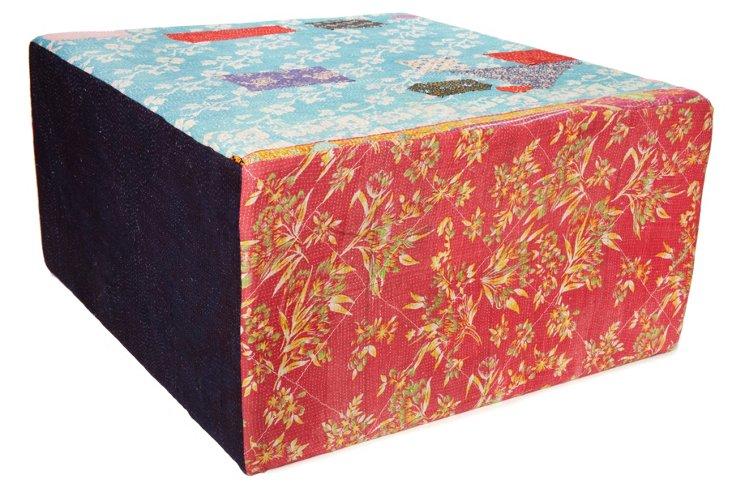 Bengali Cube Ottoman, Red/Blue Multi