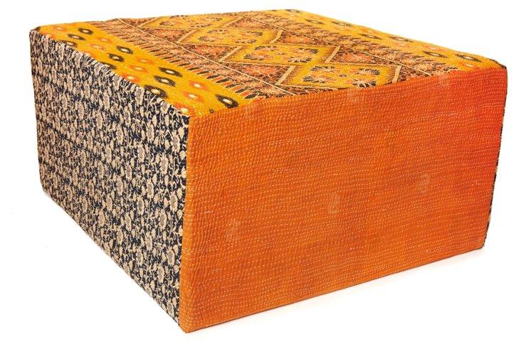 Bengali Cube Ottoman, Orange/Yellow Multi