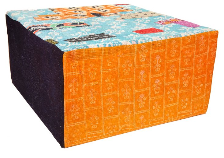 Bengali Cube Ottoman, Blue/Orange Multi