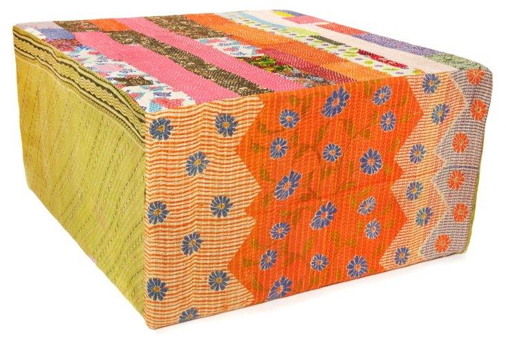 Bengali Cube Ottoman, Yellow Multi