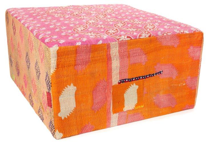 Bengali Cube Ottoman Orange Multi
