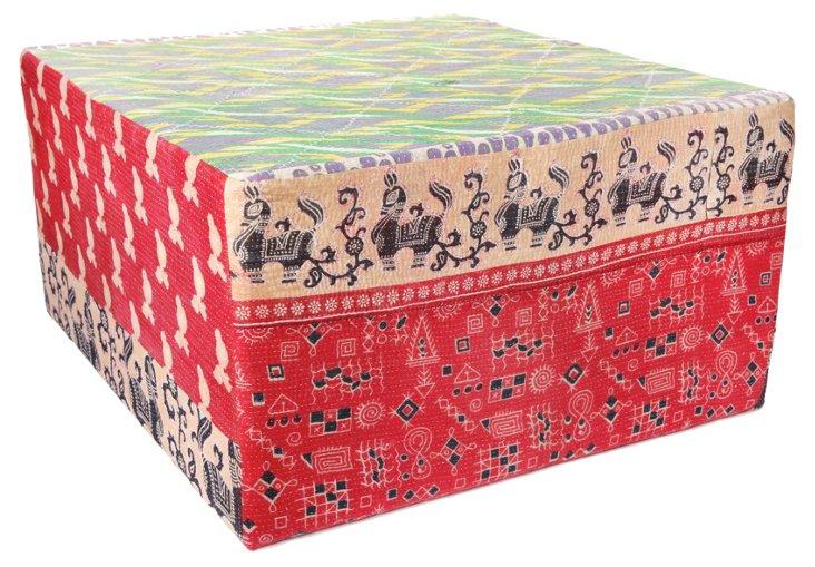 Bengali Cube Ottoman, Red Multi
