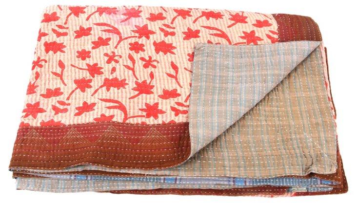 Hand-Stitched Kantha Throw, Autumn