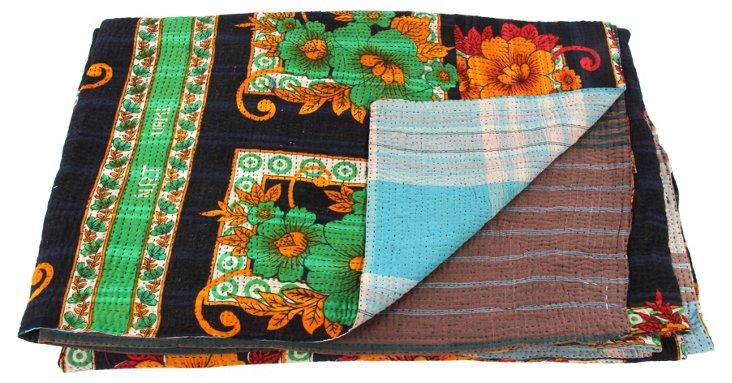 Hand-Stitched Kantha Throw, Graze