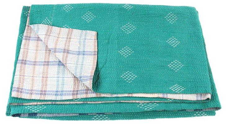 Hand-Stitched Kantha Throw, Zeus