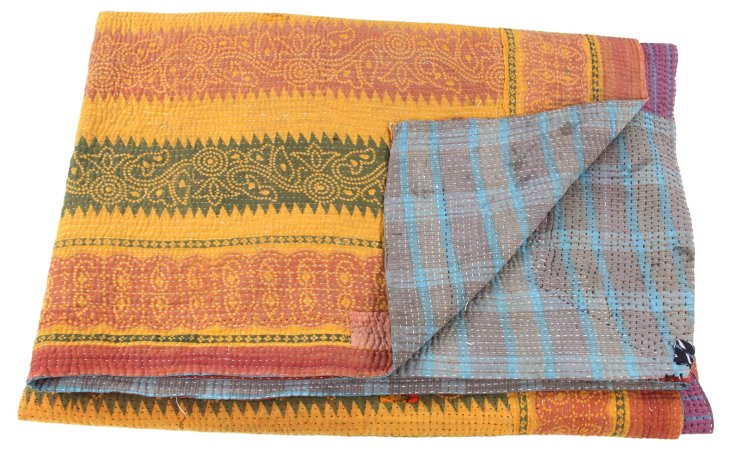 Hand-Stitched Kantha Throw, Autumn