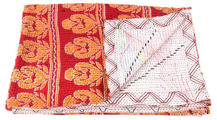Hand-Stitched Kantha Throw, Tarini