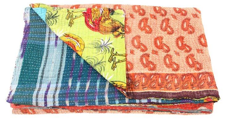 Hand-Stitched Kantha Throw, Edha