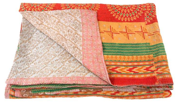 Hand-Stitched Kantha Throw, Sage