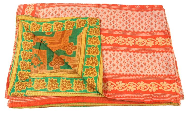 Hand-Stitched Kantha Throw, Spring