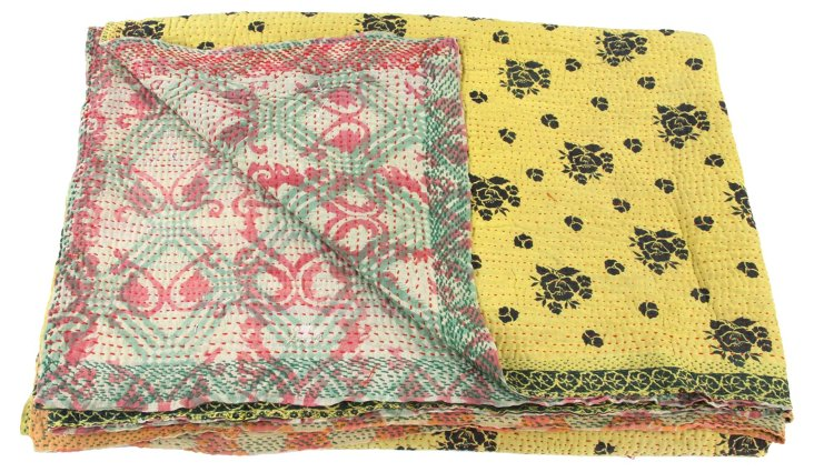 Hand-Stitched Kantha Throw, Leaf