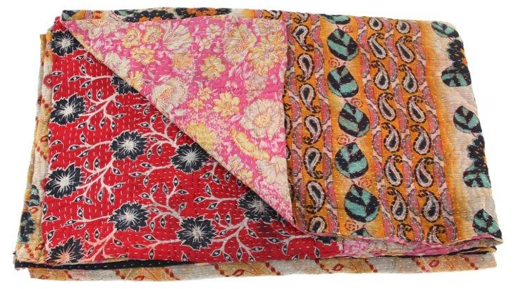 Hand-Stitched Kantha Throw, Bakul