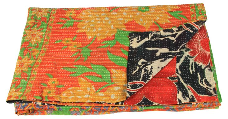 Hand-Stitched Kantha Throw, Daburani