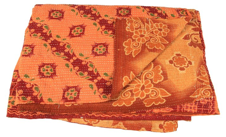 Hand-Stitched Kantha Throw, Jadida