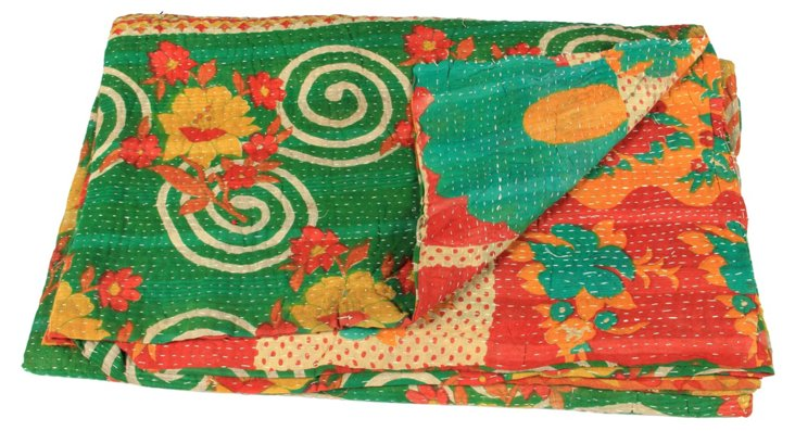 Hand-Stitched Kantha Throw, Azmarani