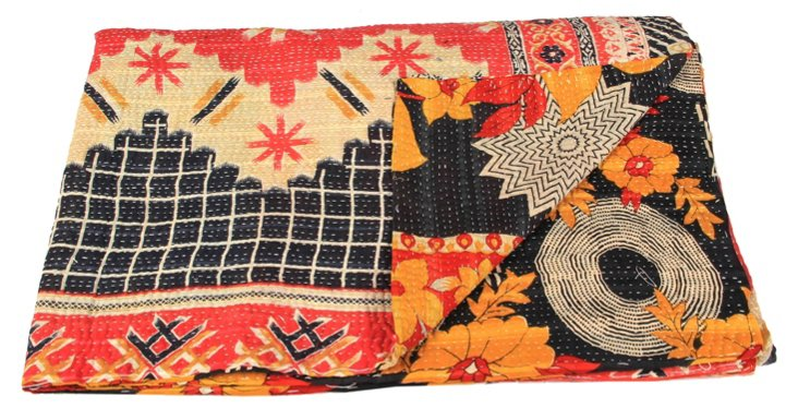 Hand-Stitched Kantha Throw, Indali